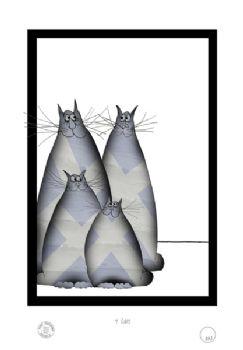 4 Shabby Chic Scottish Cats